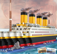 City Titanic Cruise Model DIY Diamond Mini Blocks 1860pcs Bricks Toy For Children Gifts Creator