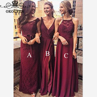 Burgundy Chiffon and Lace Long Bridesmaid Dresses For Women 2019 Cheap A Line Side Split Party Dress Maid Of Honor Gown