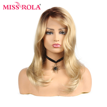 Miss Rola Wavy Hair Ombre Blonde Heat Resistant Synthetic Lace Front Wig 21 Inch T Part Lace Closure Wig