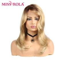 מיס רולה גלי שיער Ombre בלונד עמיד בחום סינטטי תחרה מול פאה 21 אינץ T חלק תחרת סגירת פאה