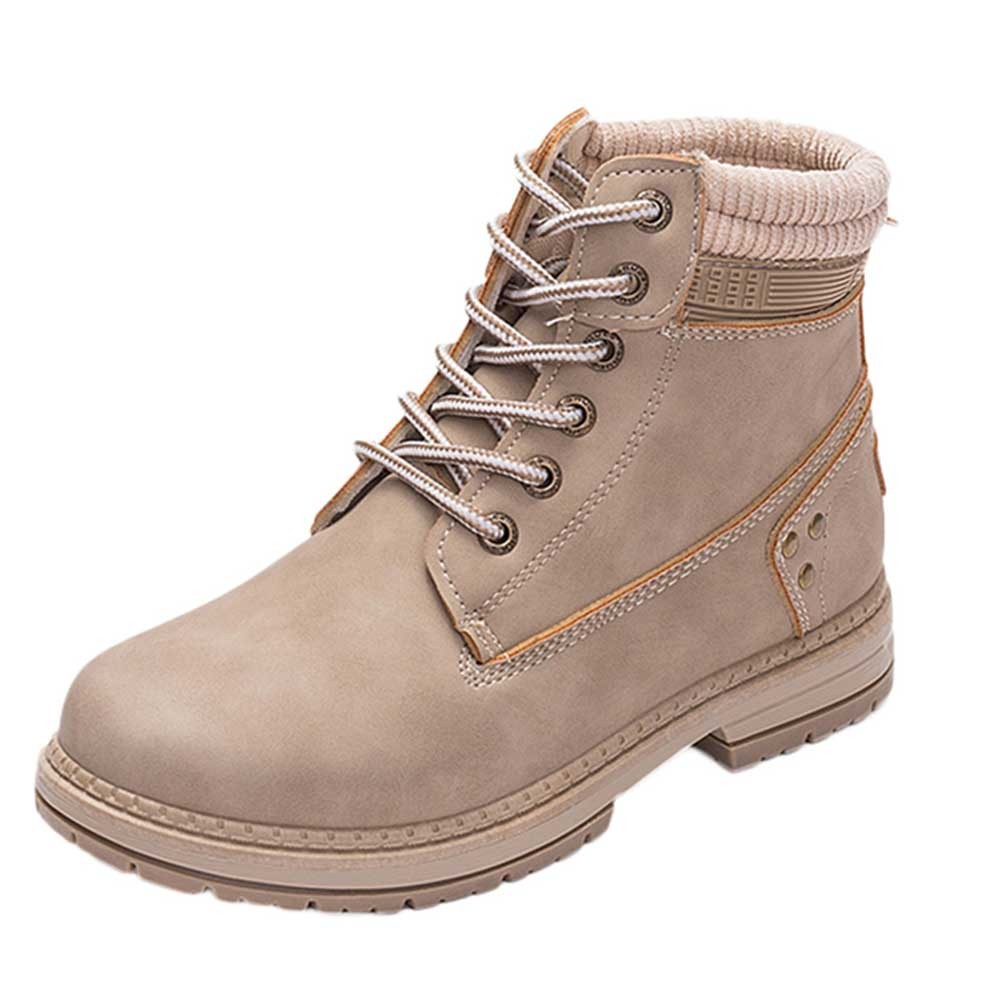 Women Boots Solid Lace Up Casual Ankle Boots Round Toe Shoes Student Snow Boots Classic Winter Warm Ladies Shoes T## 9