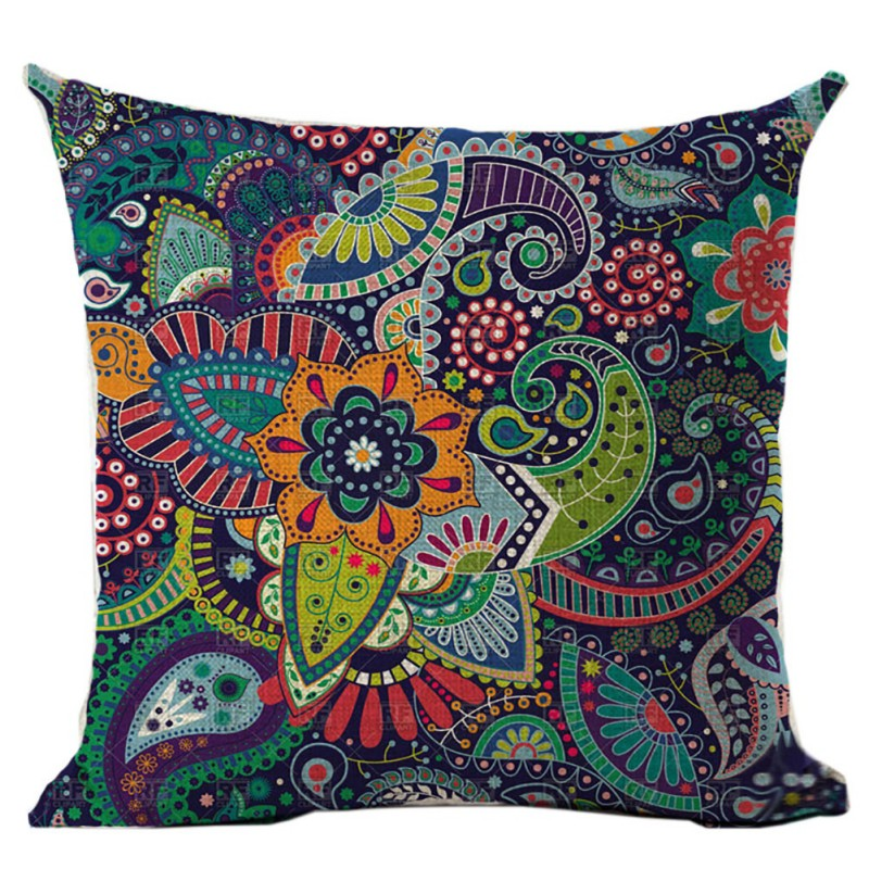 45*45cm Woven Linen Geometric Sofa Car Home Decorative Throw Pillowcase Cushions Bohemia Paisley Style SIZE Cojines OB 2019