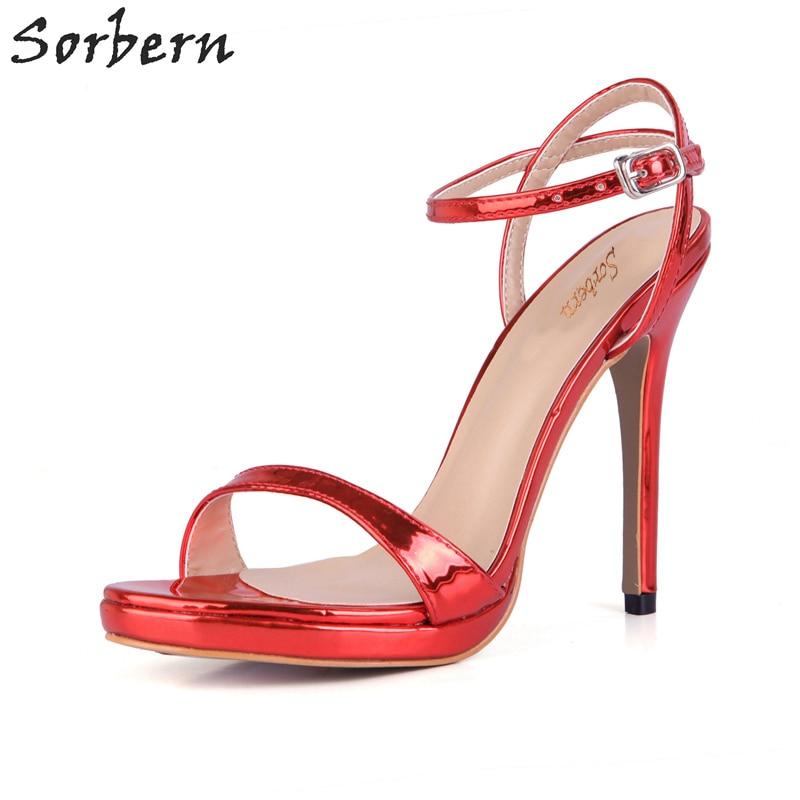 Custom Mujer Rojo De Colores Cielo Color Sandalias Correa Tacones SMzpUVGq