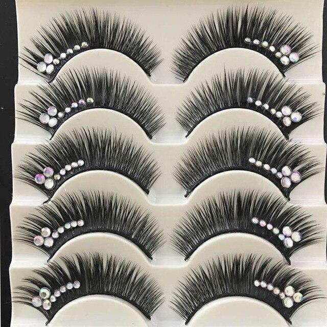 1 Box Shimmery AB Crystal False Eyelashes Stage Performance Latin Fake Eyelashes Exaggerated Stage Makeup Thick Long Eye Lashes 1