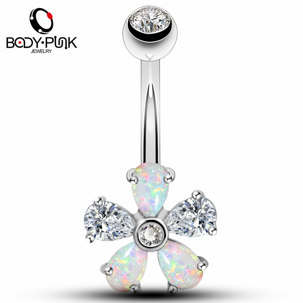 Gold Belly Button Ring 14G Flower with CZ Gems Surgical Steel Piercing Jewelry
