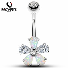 BODY PUNK 14G Surgical Steel Belly Button Rings Silver Rose Gold With Clear CZ White Blue Synthetic Opal Flower Navel