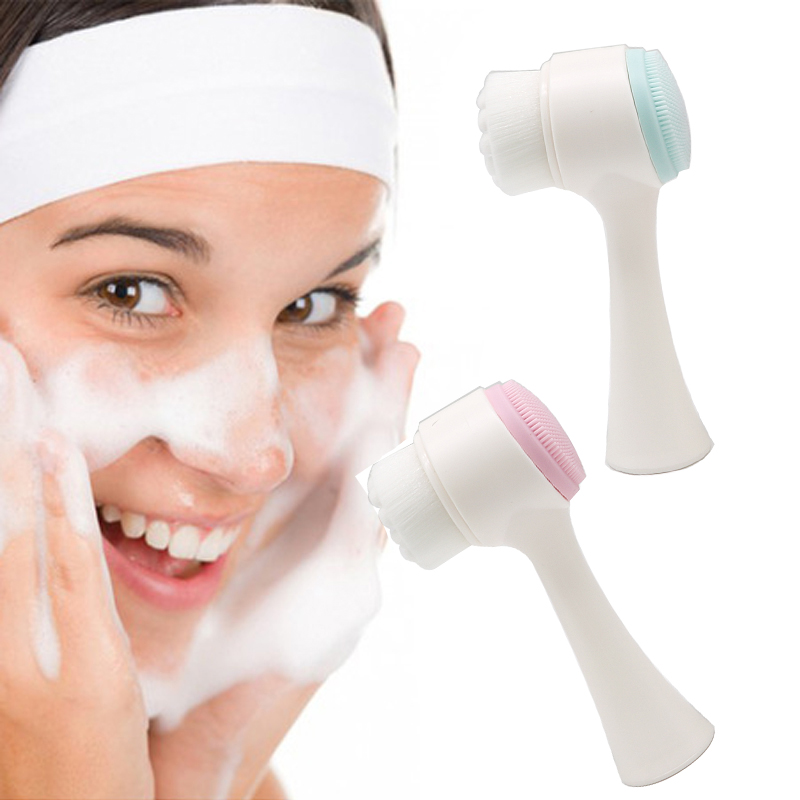 Double Sides Face Cleaning Brush Silicone Face Washing Brush for Face Cleanser Pore Cleaner Skin Care Tool Mini Machine Massager in Cleansers from Beauty Health