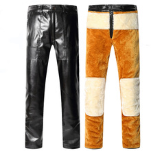 2018 winter casual leather pants PU male cold  velvet thick warm