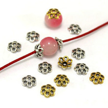 TJP 100 pcs Antique Silver/Gold Tone Beads Caps End Receptacle Flower Torus Spacers Apart for DIY Jewelry Making Findings