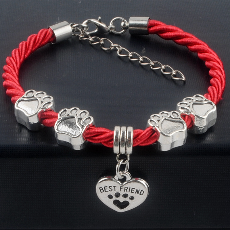 Bracelets: New Hot Sale Fashion Hand-Woven Rope Chain rope Bracelets dog paw best friend Charms Bracelets Jewelry  for women XY160480