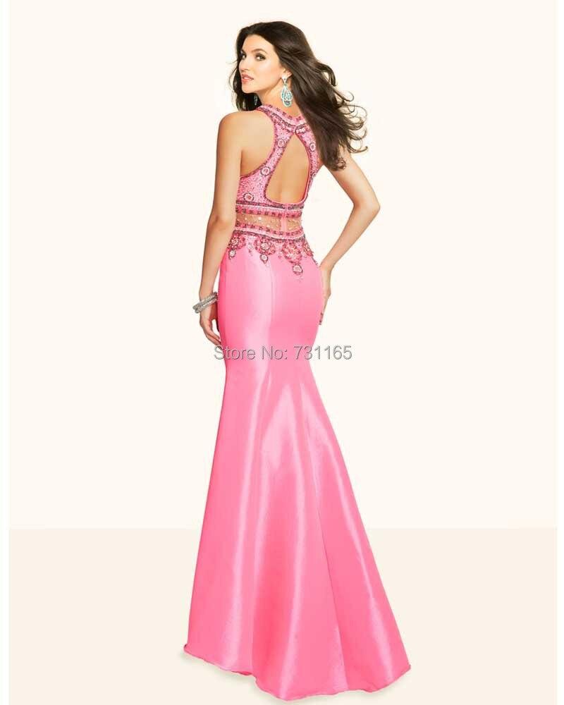 Vestido de Fiesta sirena rosada brillante de lujo que rebordea baile ...
