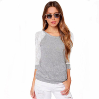 2016 Women T Shirt Harajuku Long Sleeve Tops Korean Sexy Hollow Out O-neck Cotton Patchwork Autumn Plus Size Gray Party T Shirts