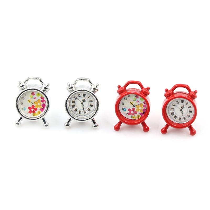 DIY Dollhouse Mini Clock Miniature Furniture Alloy Color Random 1:12 Pretend Play Bedroom Living Room Accessories