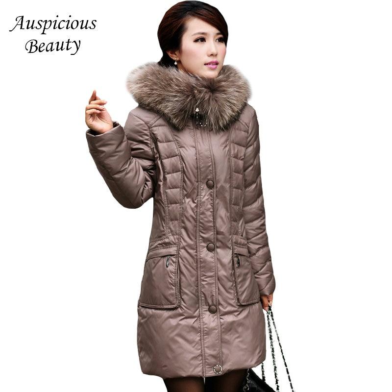 2017 Winter Down Jackets Women Fur Collar 95% White Duck Female Down Coat Slim Thickening Down Jacket Womens 6XL Plus Size SHZ44