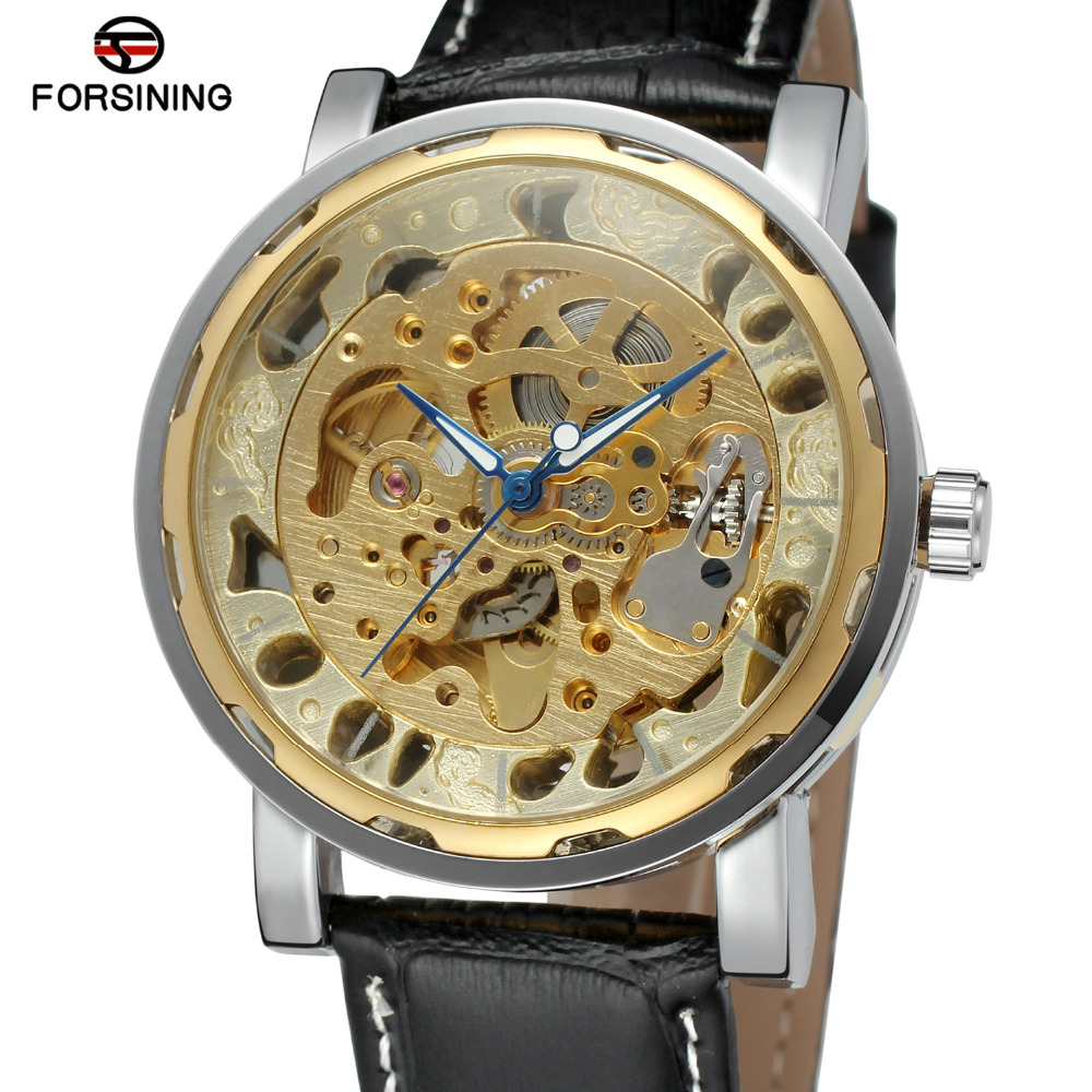 Forsining Skeleton Automatic Watches for Men Leather Strap Analog Hign End Wrist Watch Color Gold Famous