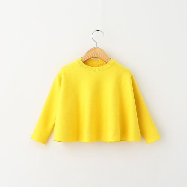 Girls Spring Sweater Short Style Fashion Autumn Toddler Kids Full Sleeve O-Neck Casual Children Solid Color Clothing 5PCS/LOT
