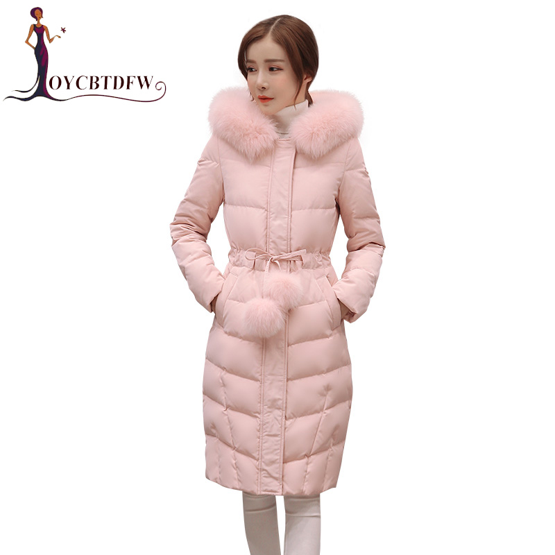 Winter Jacket 2018 Women New Long section Solid color Cotton overcoat Hooded Fur collar Long sleeves Women Cotton   Parkas   DD281