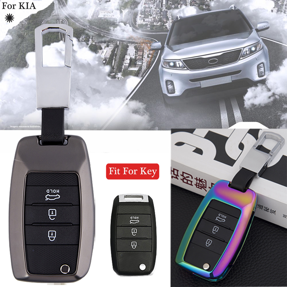 New Styling For KIA K2/K5/Sorento/Carens/Cerato/Forte/Optima/Soul Colorful Zinc Alloy Remote Car Key Fob Cover Shell Case Set