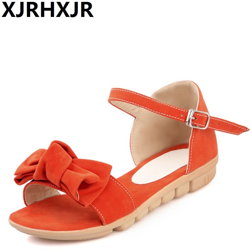 XJRHXJR Women Sude Leather Flat Sandals Ankle Strap Bowtie Peep Toe Flats Sandalias Shoes Woman Candy Color Footwear Size 34-39 meotina women flat shoes ankle strap flats pointed toe ballet shoes two piece ladies flats beading causal shoes beige size 34 43