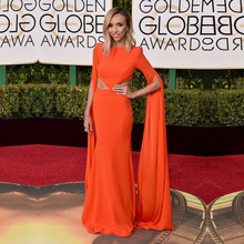 Orange goldene globale academy awards 2016 oscar mermaid long sleeve red carpet dresses elegante prom kleider oe2
