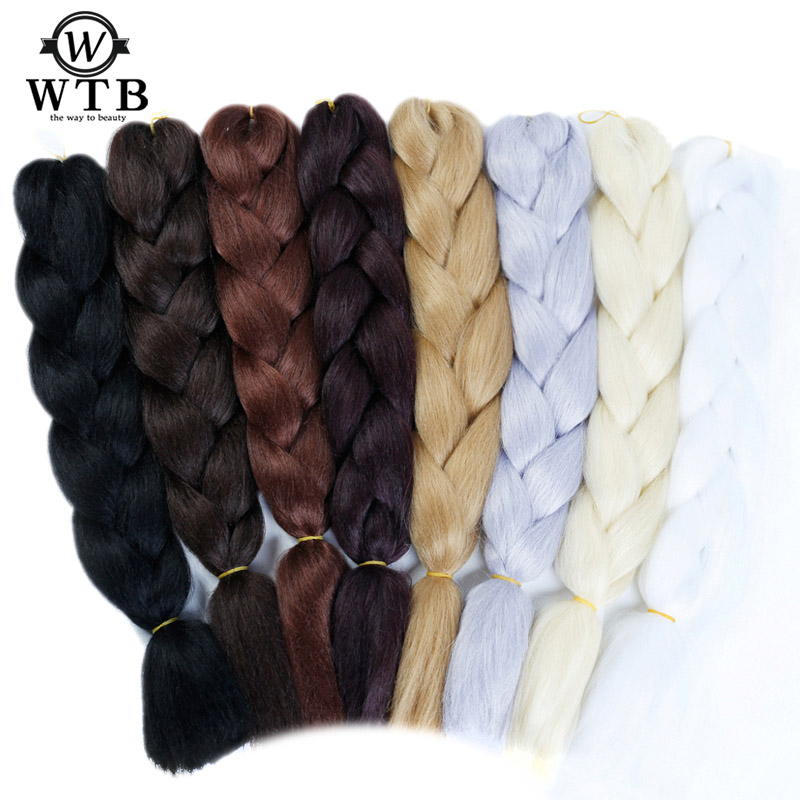 Wtb 100g Synthetic African Jumbo Monochrome Braiding Hair 24 Inch Crochet Braids Hair For American Women Extensions Hair Braids Jumbo Braids