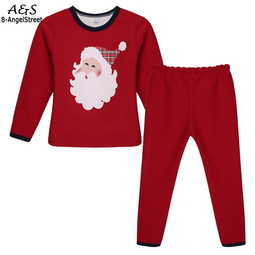 Winter Boys Girls Sleepwear Pajamas Pyjamas Kids Children Casual Clothing Santa Claus Printed Set Girls Clothes Tops Pants New