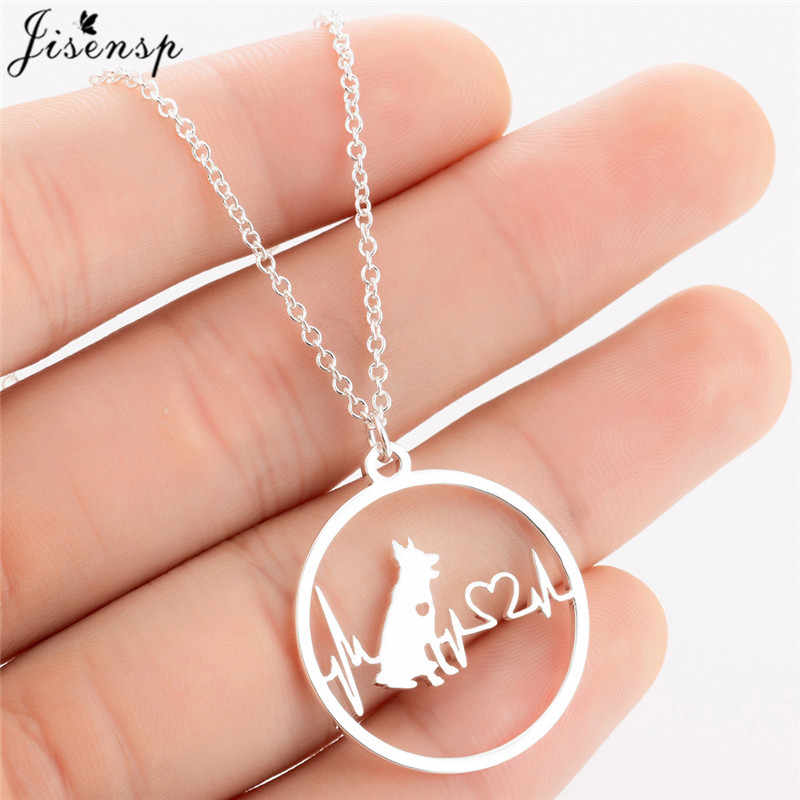 Jisensp Cartoon German Shepherd Dog Pendant Necklace for Women Fashion Jewelry Heartbeat Heart Choker Necklace Chain for Kids