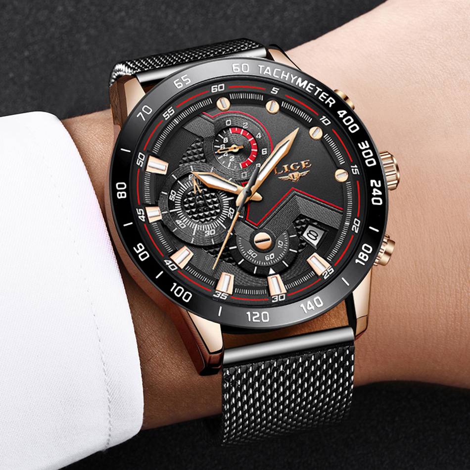 LIGE azul Casual malla Correa moda cuarzo oro reloj para hombre relojes marca superior reloj impermeable de lujo 16