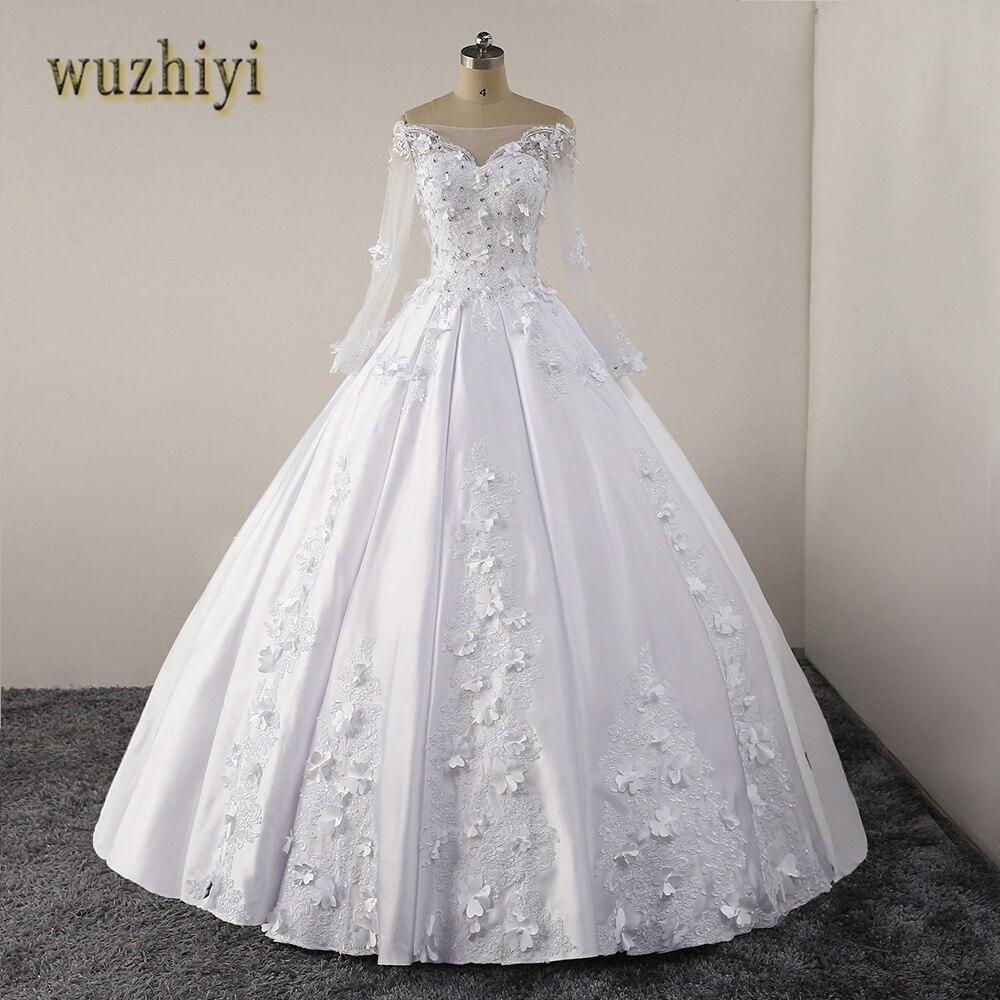vestido de noiva Boat neck wedding dresses 2018 Ball Grown lace applique wedding gown Zipper back with buttons wedding dress
