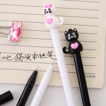 2 Pcs/lot Cartoon White Black Cat Gel Pen Kawaii Pens for Writing Stationery Kitten Pen Black Ink 0.5mm Office School Supplies