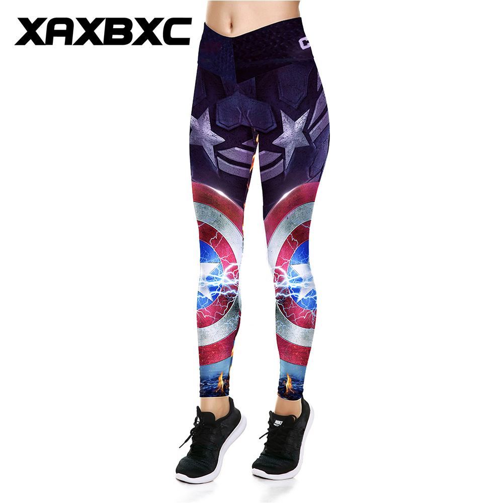 XAXBXC 035 Sexy Girl Slim Pants Superhero Captain America Shield Prints V High Waist Elastic Workout Fitness Slim Women   Leggings