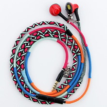 Best price URIZONS wired earphones 3.5mm jack Handmade Rope headset Braided Wearable Stereo bracelet Sport bass earphones for iphone PC