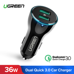 Ugreen 36W Car Charger Dual Quick Charge 3.0 Car-Charger with Charging Cable Fast Dual USB Fast Mobile Phone Quick Car Charger