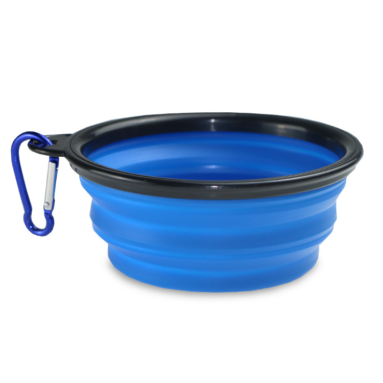 350ml/1000ml Portable Outdoor Travel Pet Dog Bowl Silicone Folding Bowls Food Drinking Water Pet Product Bowls With Buckle