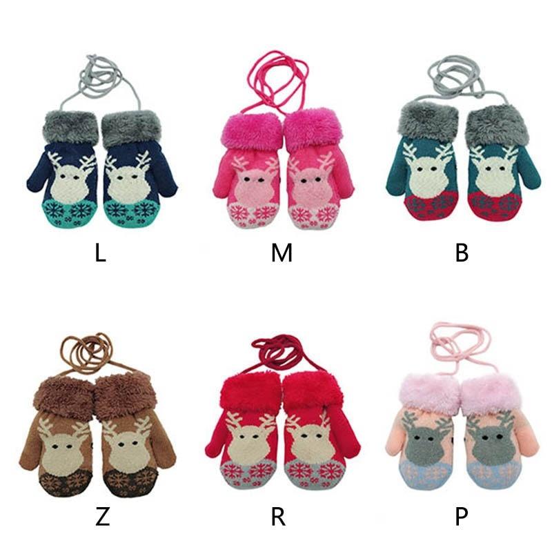 Winter Baby Boys Girls Knitted Gloves Warm Russian Plush Golves Rope Full Finger Mittens Gloves for Children Toddler все цены
