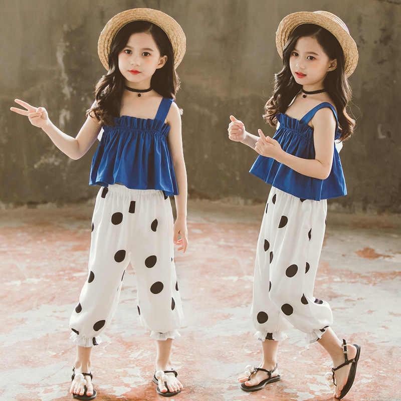 Комплект одежды для девочек, однотонный жилет + штаны в горошек, летняя одежда для девочек из 2 предметов, летняя одежда для детей-подростков 6, 8, 10, 12, 13, 14 лет