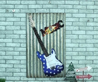 MUSIC Large Guitar Tin Sign Vintage Iron Painting KTV Bar Hanging Ornaments Decor Retro Mural Poster Metal Wall Sticker 60X40 CM