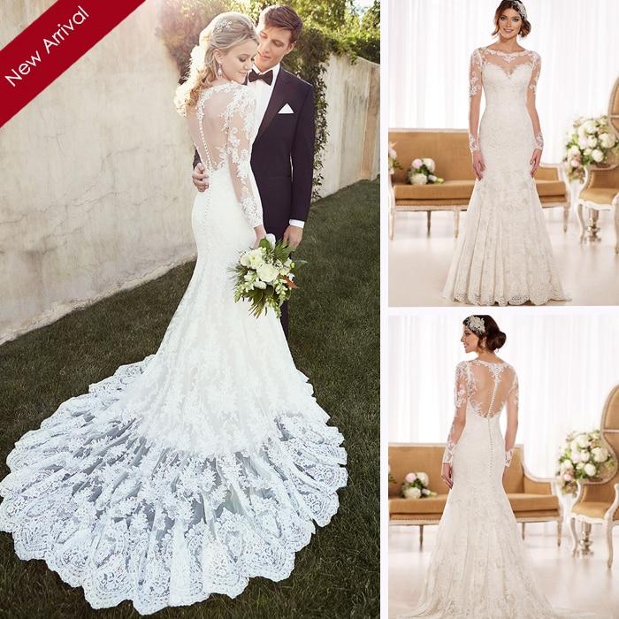 Платья свадебные русалка с рукавами