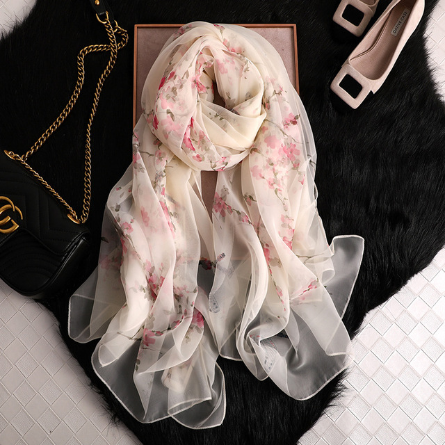 women spring summer soft plum blossom printed thin wraps large size long ladies floral silk scarf