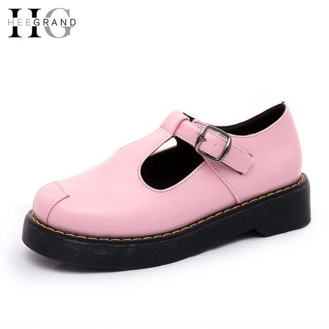 Mujeres de color rosa Zapatos Brogue Oxfords Plataforma de Zapatos de Mujer 2016 de la Correa de Hebilla de La Manera de Deslizamiento En Los Planos Enredaderas XWD4446