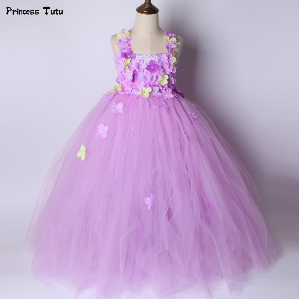 Lavender Flower Girl Tutu Dress Princess Fairy Dress Girls Pageant Party Wedding Dress Kids Tutu Dresses for Girls Ball Gown 2018 new summer girl children s ball gown princess dress costumes feathers wedding dresses girls kids lace tutu dresses d048