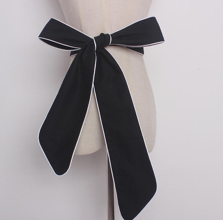 Women's Runway Fashion Denim Bow Cummerbunds Female Dress Corsets Waistband Belts Decoration Wide Belt R1623