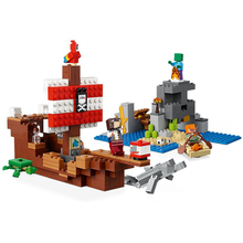 My World Treasure Pirate Ship Mini Steve Figures Alex Building Blocks Bricks  toys for boys Educational building block Minecraft diy building blocks bricks my world compatible legoed minecrafted set steve alex reuben figures city toy for children