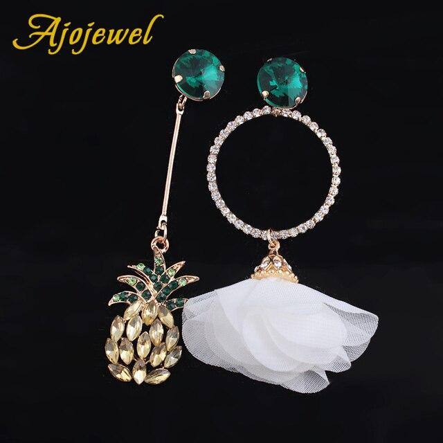 Ajojewel Korean Asymmetrical Crystal Pinele Earrings Women White Flower Drop Costume Jewelry Whole