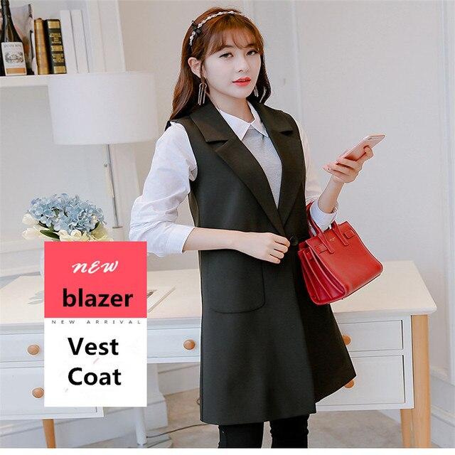 Hiawatha 2018 Spring Autumn Sleeveless Jacket And Blazer Korean Long Vest Coat Fashion Pockets Suit BL016 4