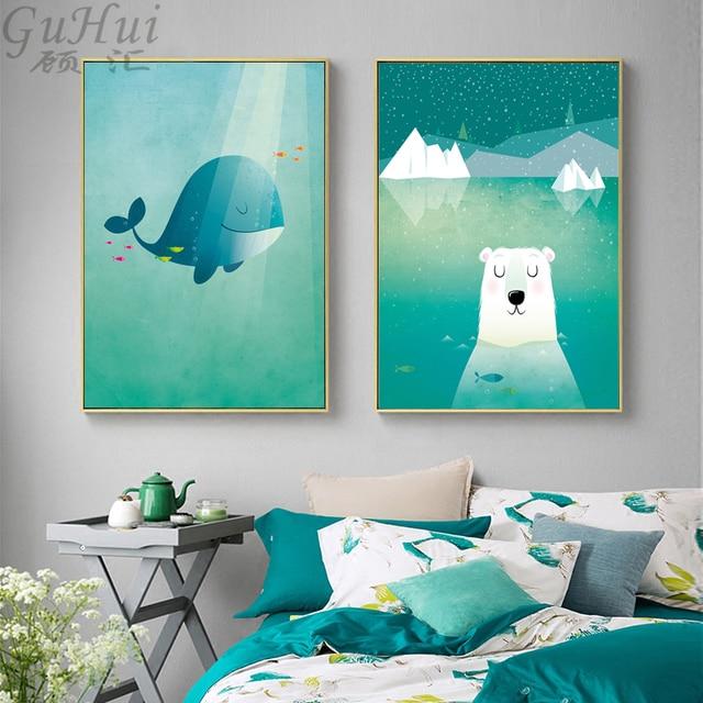 אוקיינוס פנטזיה נורדי לווייתן קריקטורה דוב קוטב בד ציור קיר פוסטר בית חדר ילדי תפאורה קיר תמונה חיה מיטה