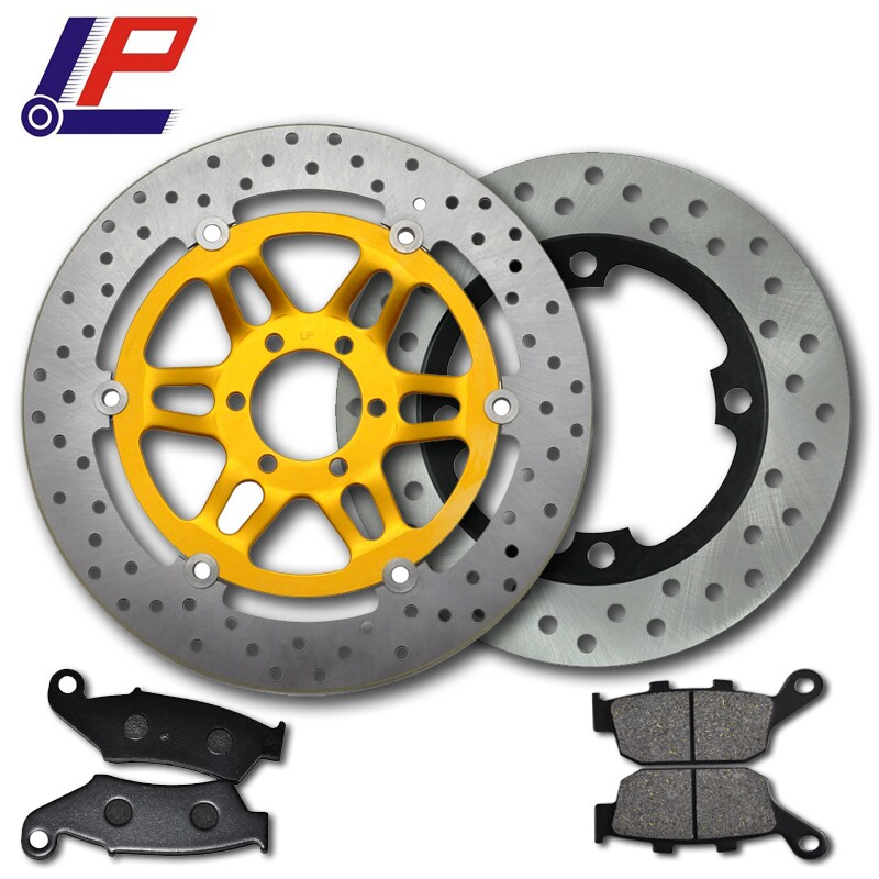 LOPOR Motorcycle Front & Rear Brake Disc Rotor & Front & Rear Brake Pads Fit Honda VTR250 MC33 1998-2007 2000 2004 2006 VTR 250 motorcycle front and rear brake pads for honda xr600r xr600 r 1991 2000 brake disc pad
