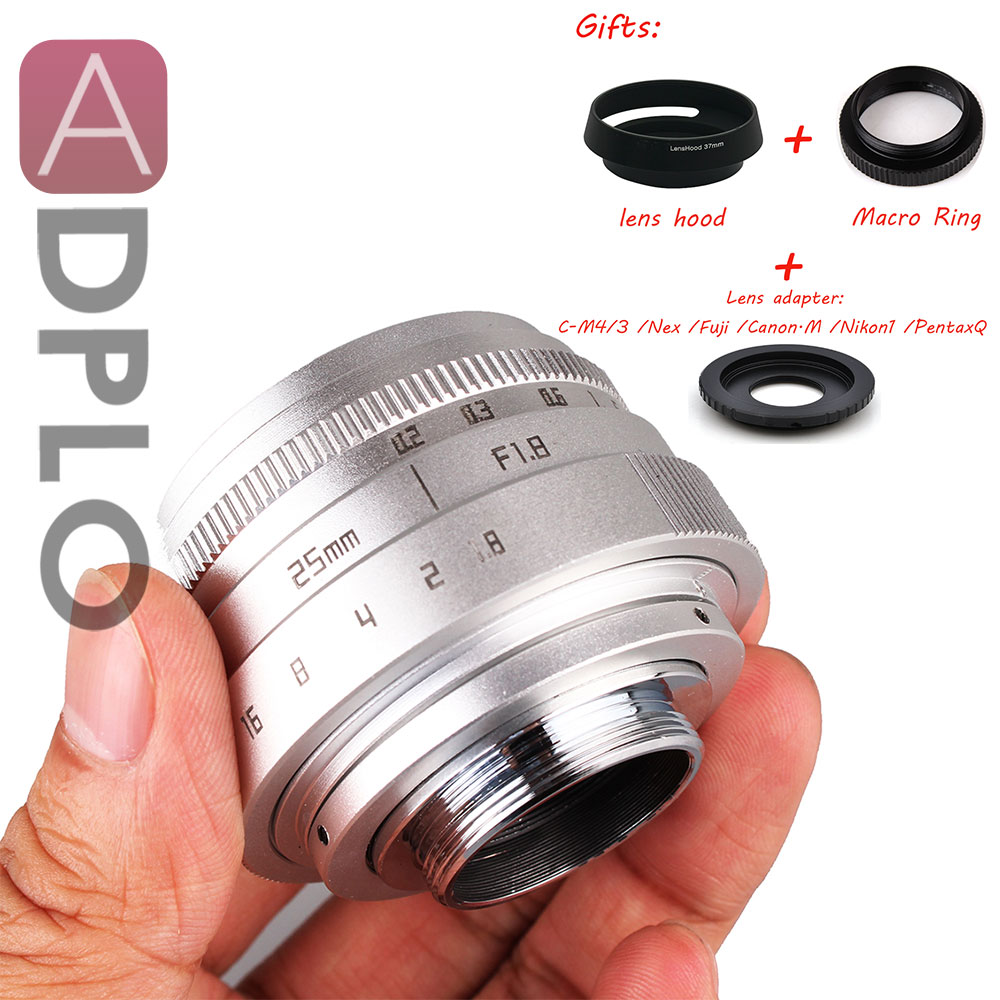 Adplo Silver 25mm f/1.8 APS-C TV Lens + Lens Hood+ Macro Ring +C to camera adapter for Nikon 1 / M4/3 /for CanonM /Pentax Q /Nex цена