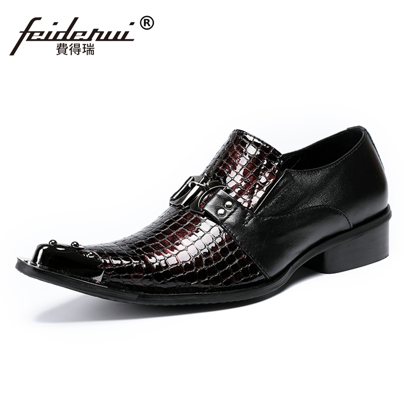 Plus Size Fashion Patent Leather Man Wedding Loafers Pointed Toe Slip on Alligator Pattern Men's Banquet Party Shoes SL471