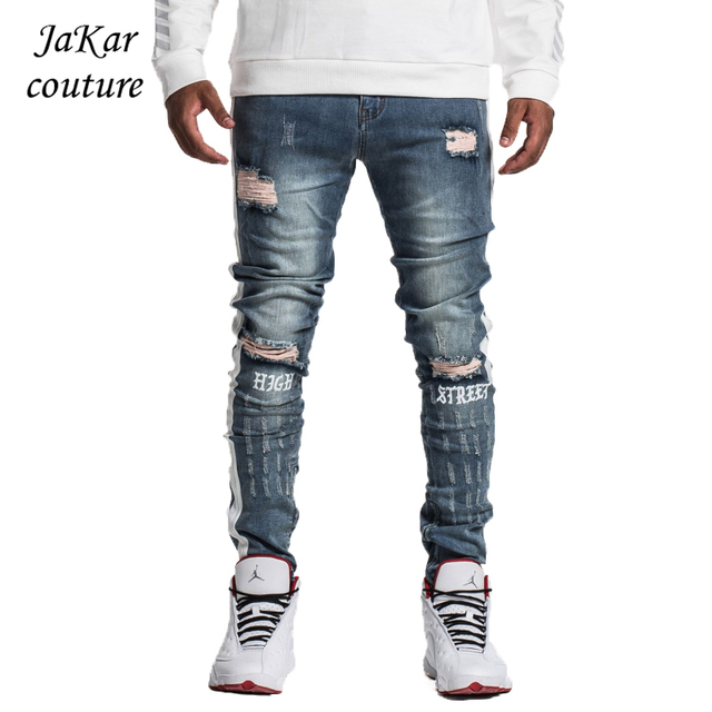 b48a835cf6eb JaKar Ripped Side Stripe Jeans Men Blue Slim Fit Skinny Male Jeans 2018 New Vintage  Zipper Motorcycle Biker Denim Jeans Pants